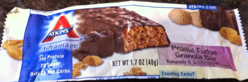 Atkins Advantage Peanut Fudge Granola Bar (allowed for all phases of the Atkins' diet, but note - contains sugar alcohols)