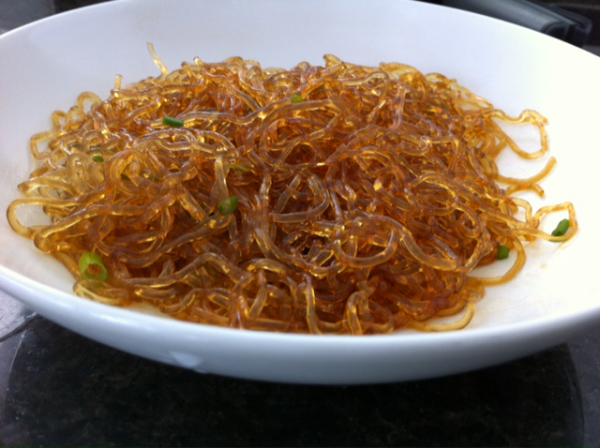 Kelp Noodles Microwaved with Soy Sauce, Sesame Oil, Garlic, and Chives